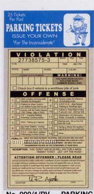 Phony Parking Violation Ticket (25/Package)