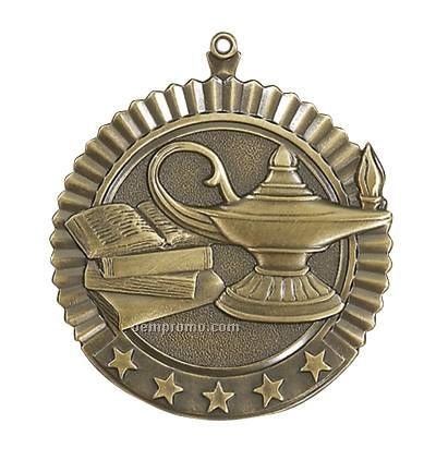 """Medal, """"Lamp Of Knowledge"""" Star - 2-3/4"""" Dia"""