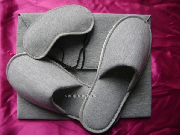 Air Slippers & Eye Mask Travel Kit