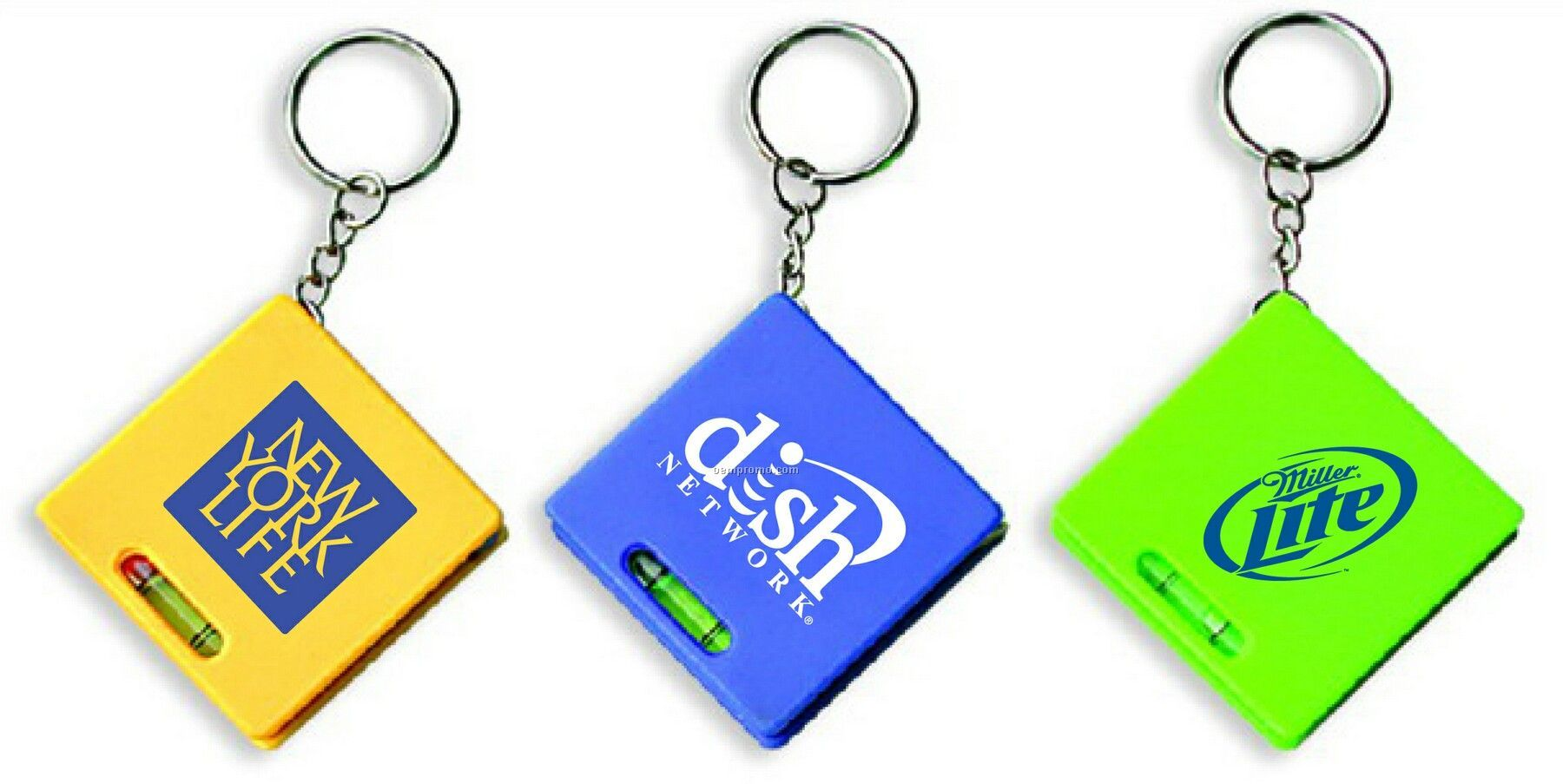 Square Tape Measure With Level And Key Chain