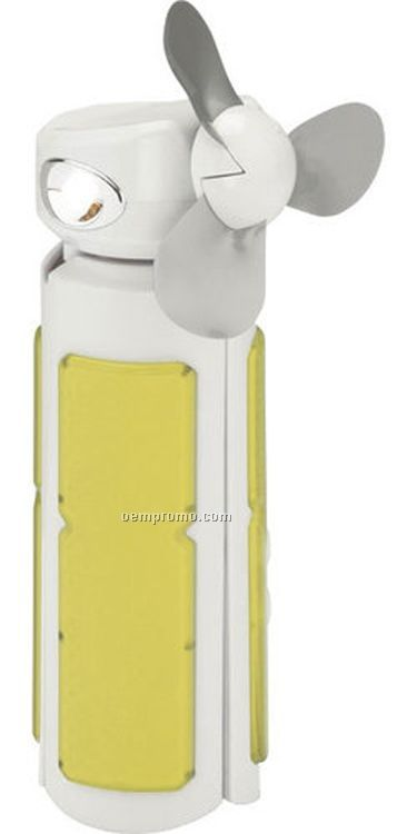 Travel Radio W/ Fan & Flashlight - White / Yellow