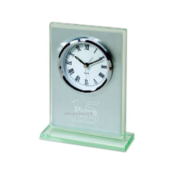Vanguard Brushed Silver Alarm Clock With Jade Glass Base