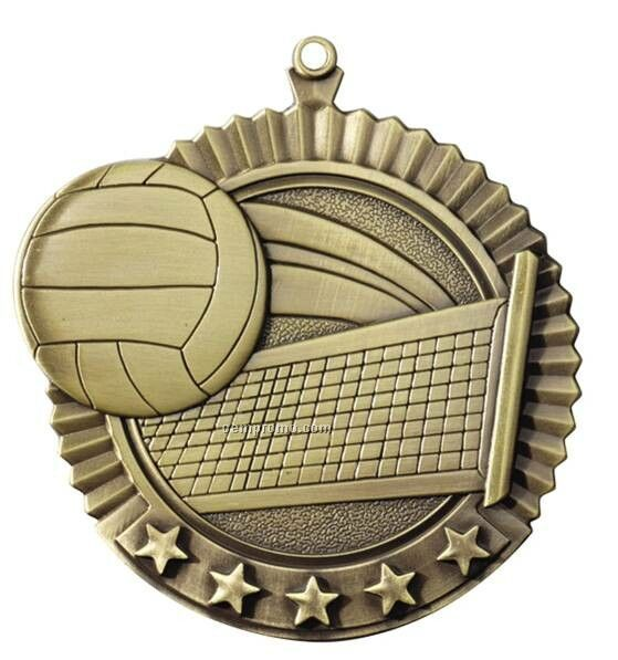 "Medal, ""Volleyball"" Star - 2-3/4"" Dia"