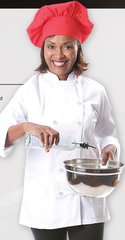 Ladies Long Sleeve Fitted Chef Jacket - White W/ Black Piping