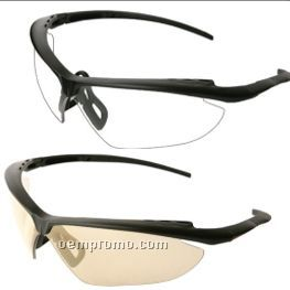Night Fire Black Frame Safety Glasses W/ Pivoting Nose Piece (Clear Lens)