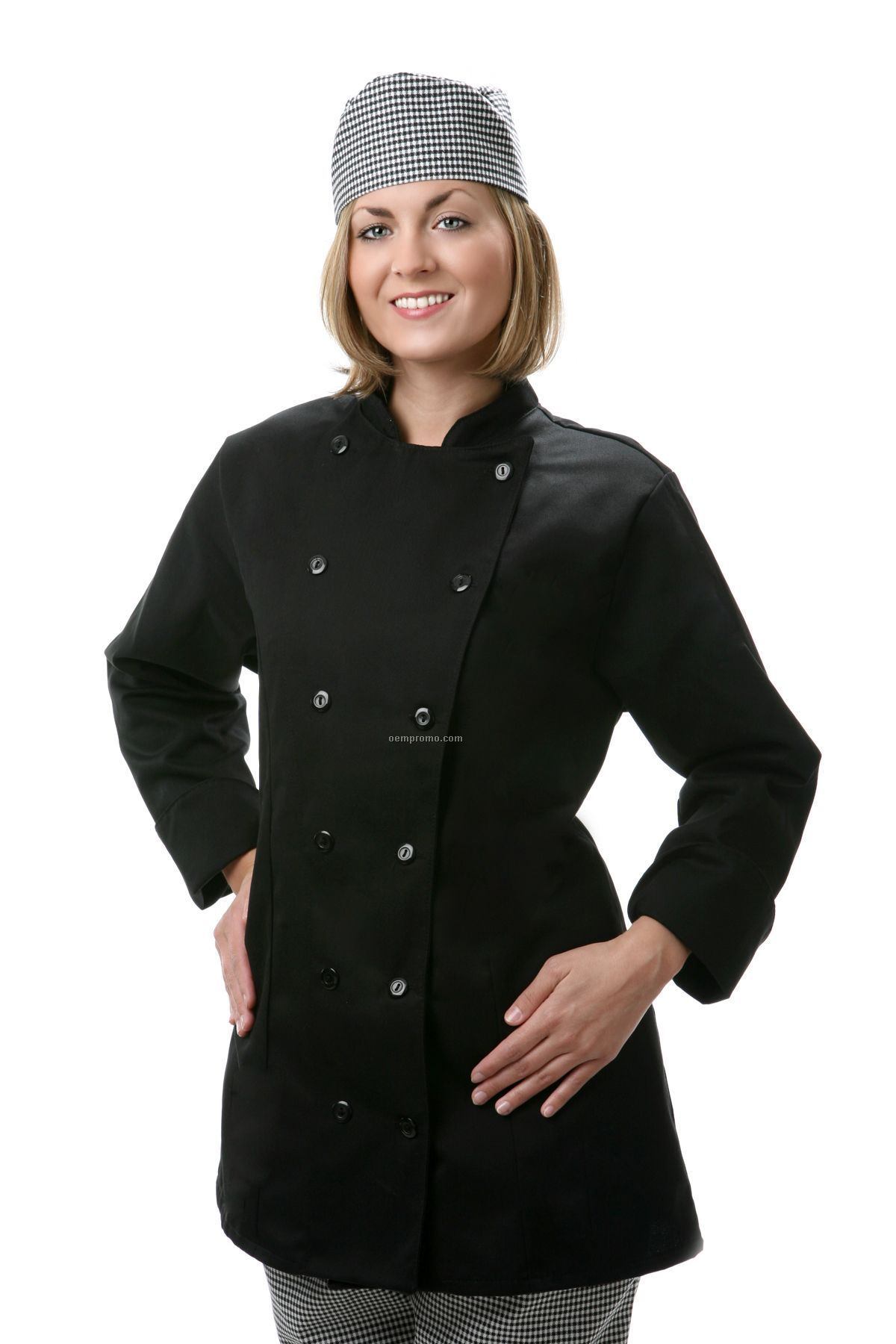 Ladies Long Sleeve Fitted Chef Jacket - Black