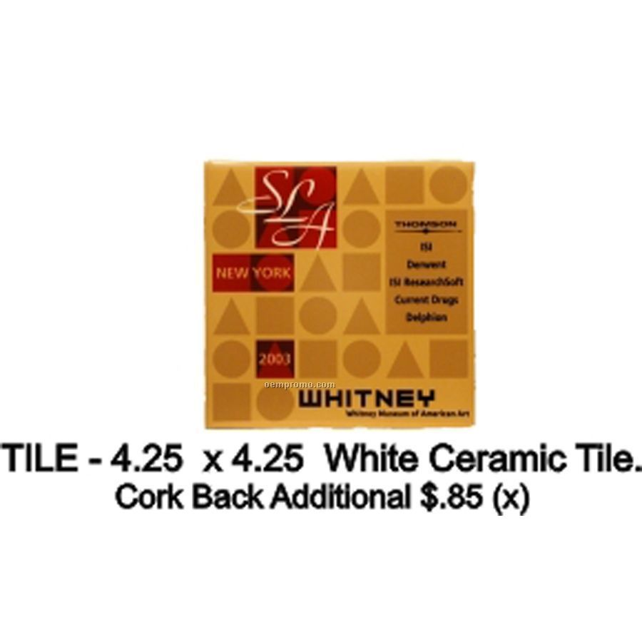 "Ceramic Tile - Without Cork Backing (4.25""X4.25"")"