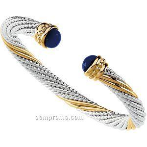 Ladies' Sterling Silver/14y 6-1/2mm Cable Cuff Bracelet W/ Amethyst End