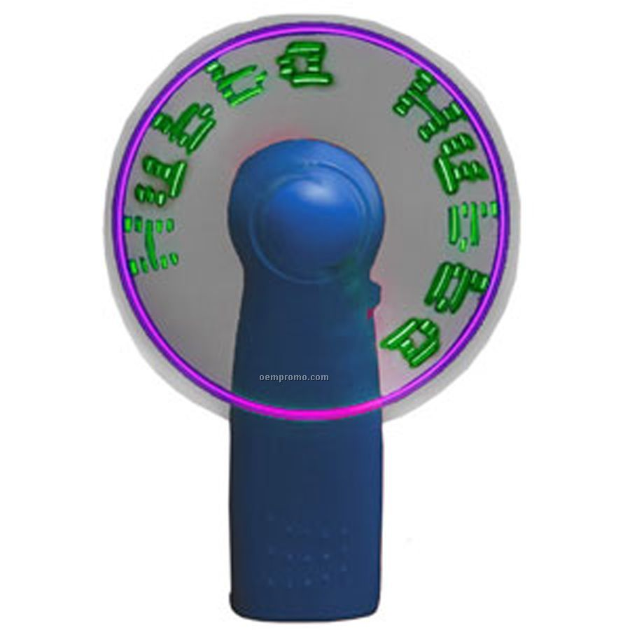 Blue Light Up Fan With 7 Green LED Message