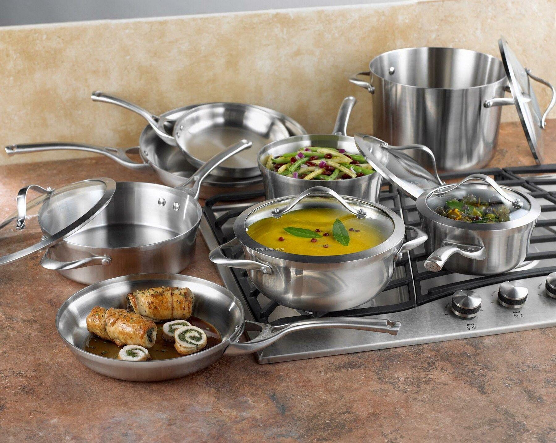 calphalon 13 piece stainless steel cookware set