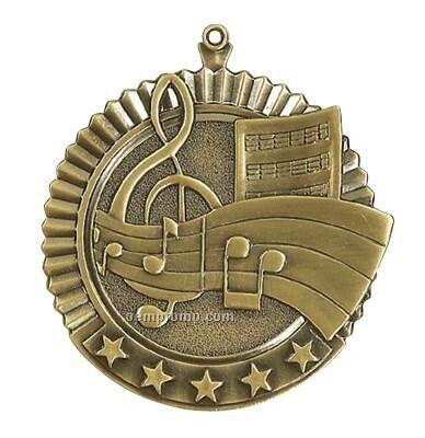 """Medal, """"Music"""" Star - 2-3/4"""" Dia"""