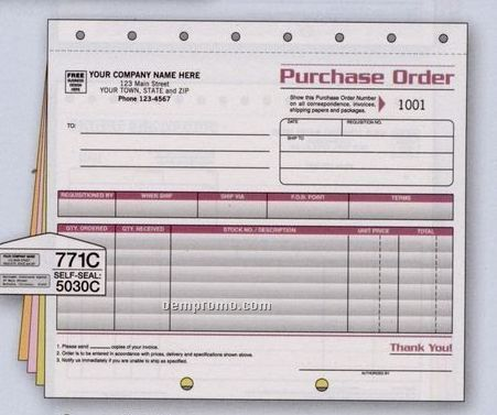 Spectra Collection Large Purchase Order (4 Part)