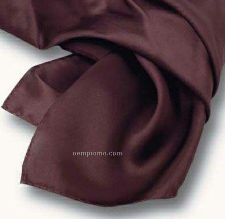 "Wolfmark Solid Series Chocolate Brown Silk Scarf (21""X21"")"