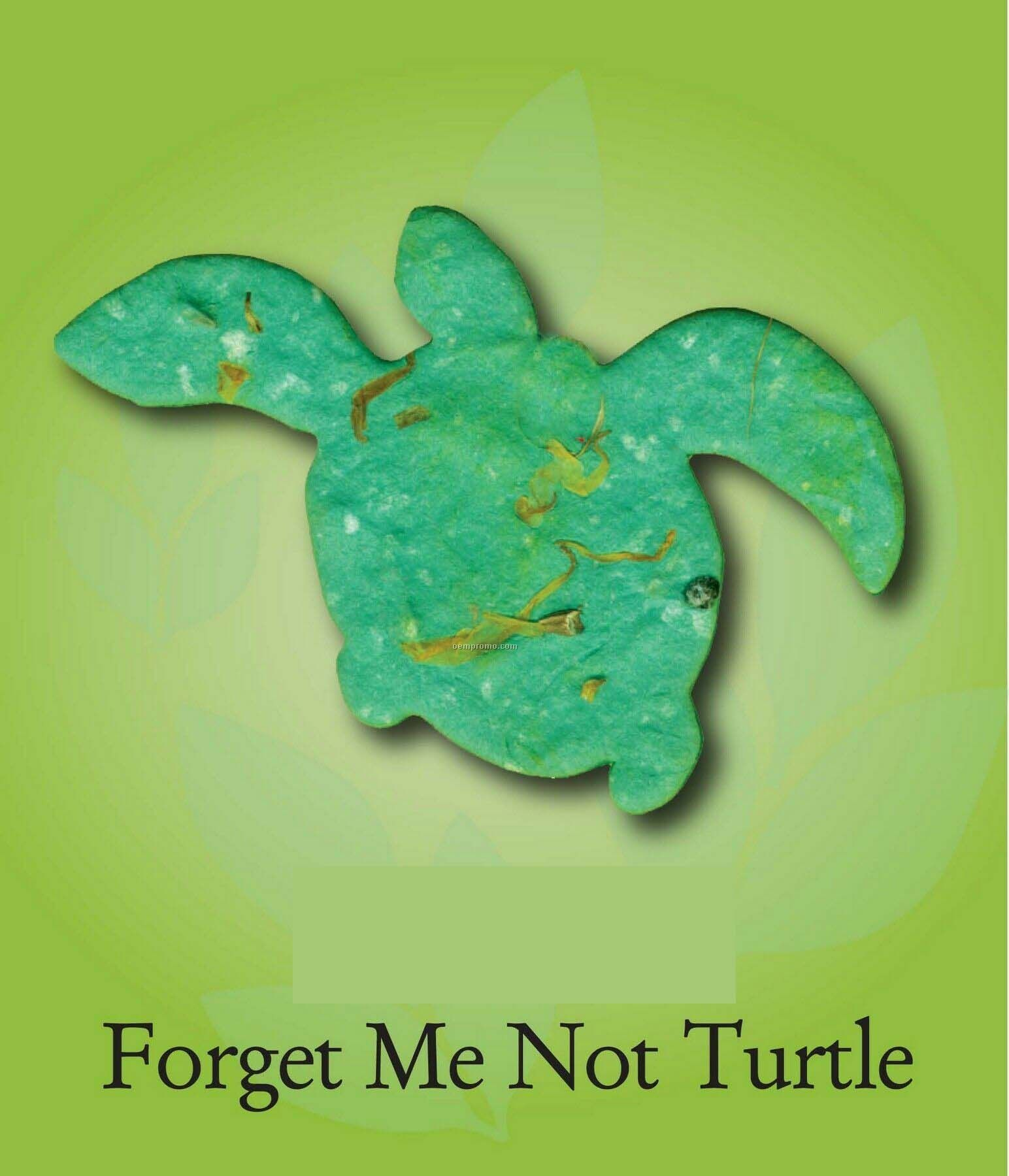 Forget Me Not Turtle Ornament With Embedded Seed