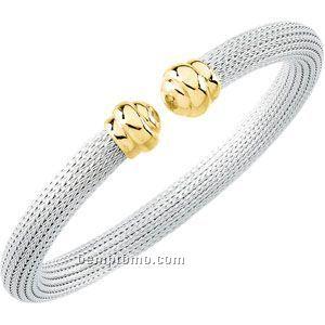 Ladies' Stainless Steel/14k 6-3/4mm Mesh Cuff Bracelet