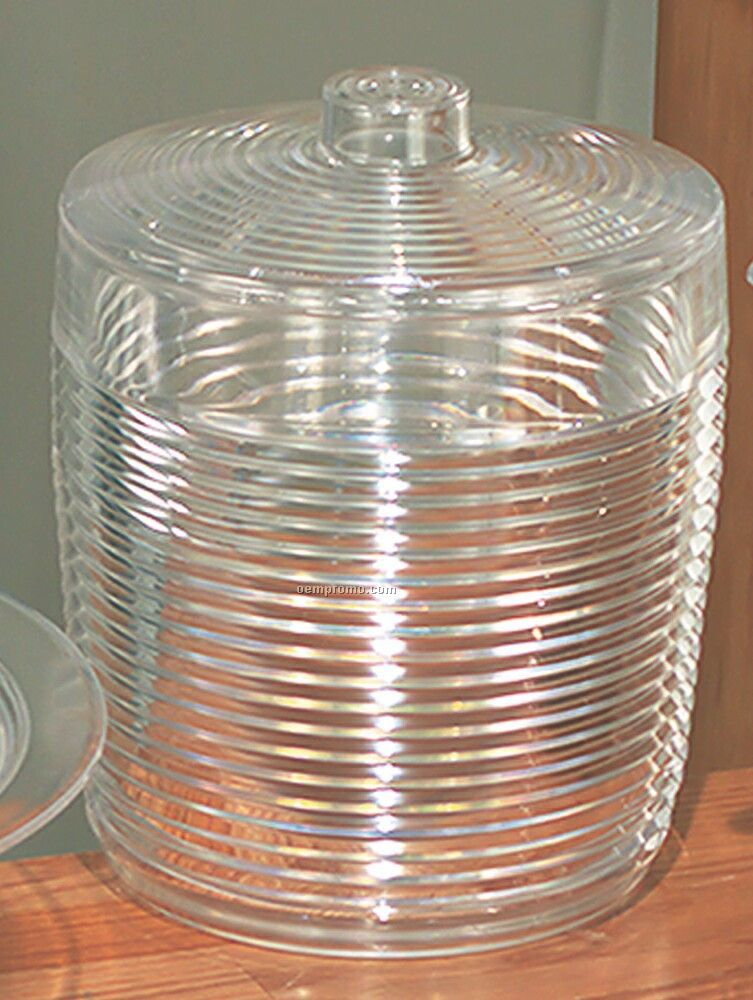 Ringed Plastic Heavy Weight Ice Bucket With Cover - Large