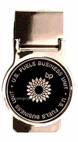 Silver Plated Money Clip With Brush Finished Zinc Medallion