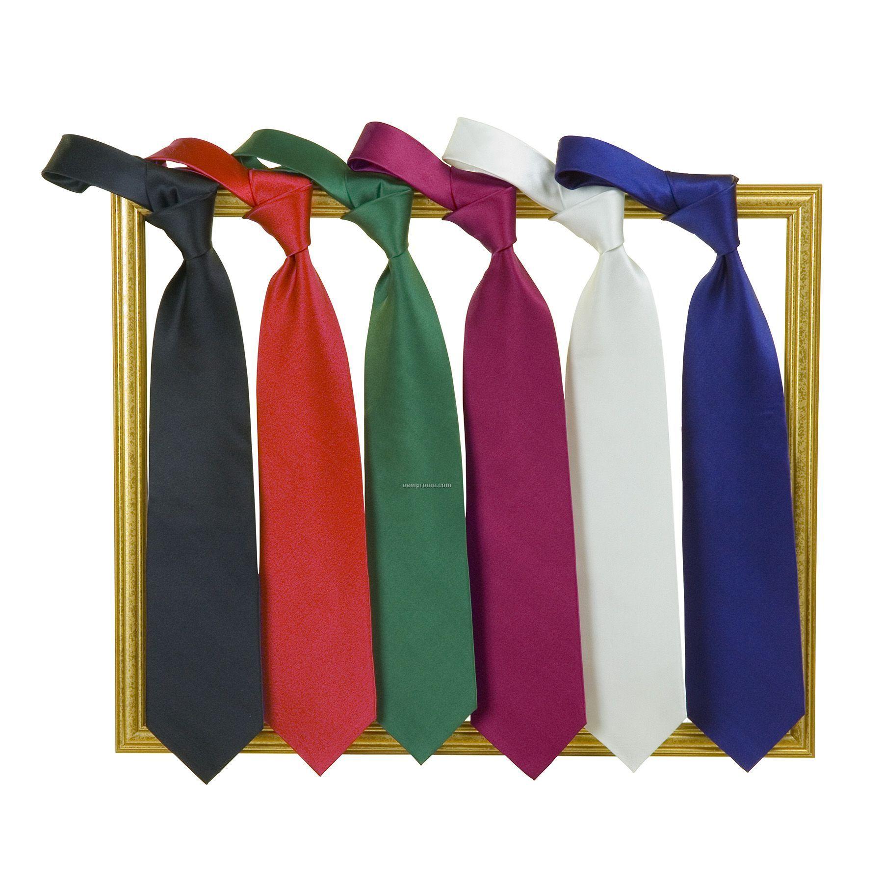 Solid Black Necktie - 100% Silk