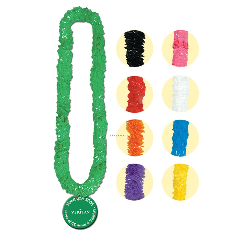 "36"" Soft-twist Poly Leis W/ 2 1/2"" Plastic Medallion"