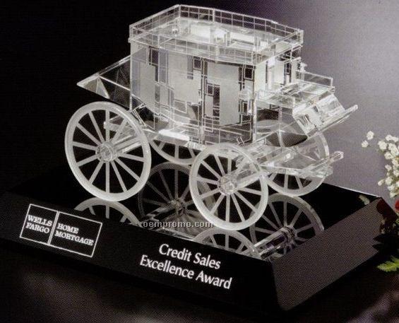 Distinctive Gift Gallery Crystal Stagecoach Award On Black Base