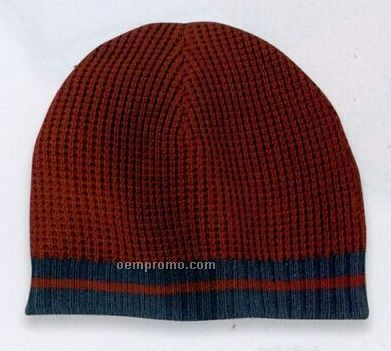 District Threads Waffle Beanie Hat With Ribbed Edge