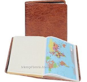 Ladies Tooled Calfskin Ruled Journal W/ Maps (Tan)