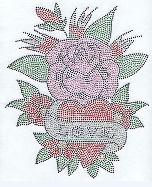 Love W/Flower And Heart Rhinestone Transfer