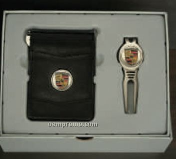 Custom Gift Set With Golf Cool Tool & Designer Leather Swing Bar Money Clip