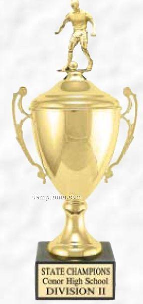 """17"""" Grand Series Metal Trophy Cup W/ Lid & Figure On Black Marble Base"""