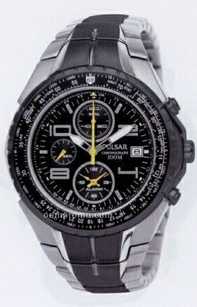 Men's Pulsar Tech Gear Flight Computer Alarm Chronograph Watch