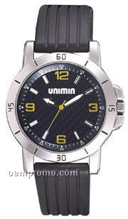 Pedre Laguna Sport Watch With Matte Silver Finish & Yellow Markers