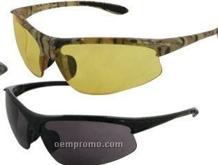 Commandos Safety Glasses W/ Camouflage Rubber Temple (Amber Lens)