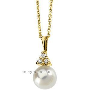 """14ky 7mm Cultured Pearl & .06 Ct Tw Round Pendant W/ 18"""" Cable Chain"""