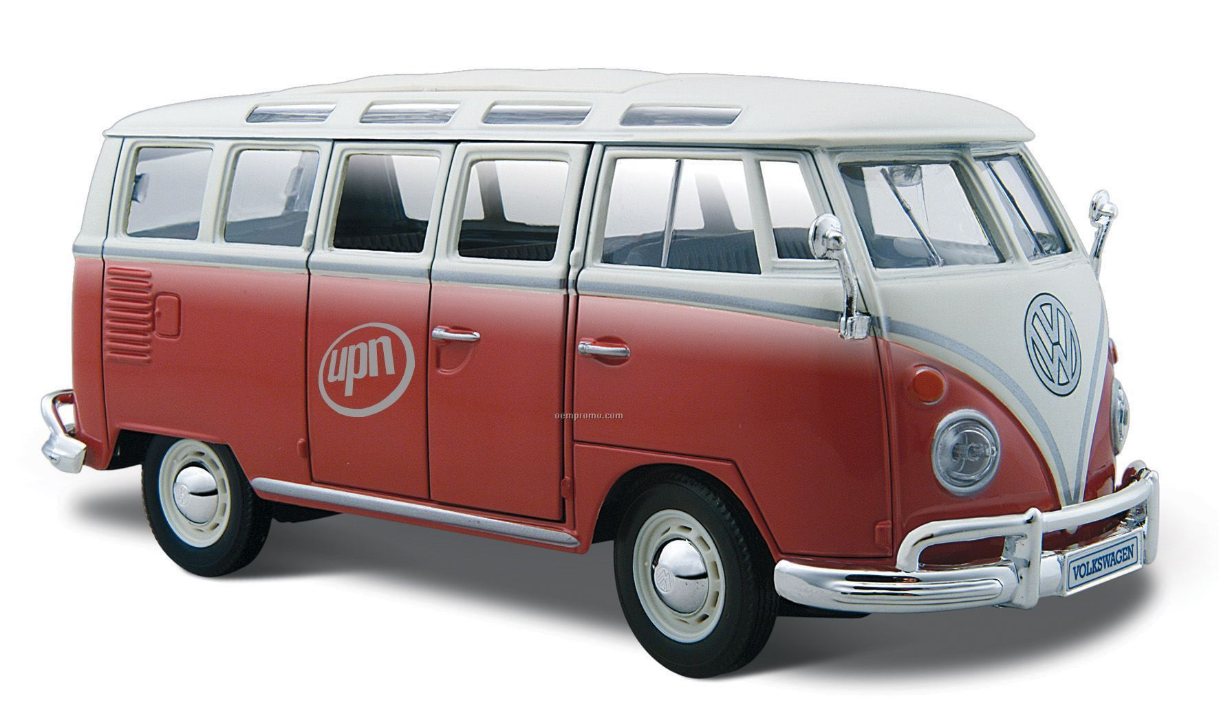 "7""X2-1/2""X3"" Red/White Vw Samba Bus Die Cast Replica Car"