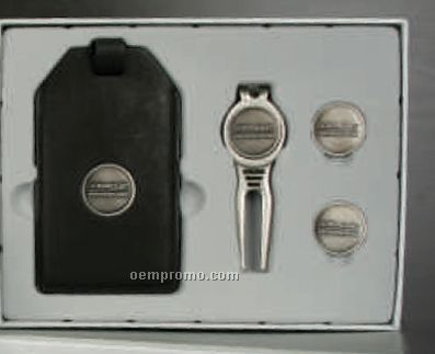 Custom Golf Gift Set With Leather Luggage Tag/ Cool Tool & 2 Ball Markers