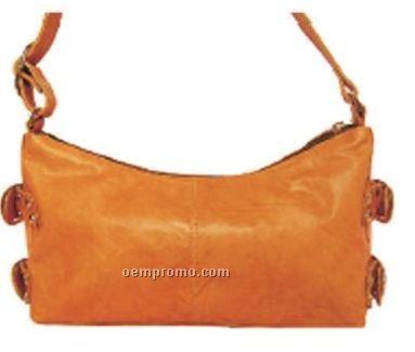 Ladies Black Brittany Mid Sized Shoulder Bag W/ Side Buckles