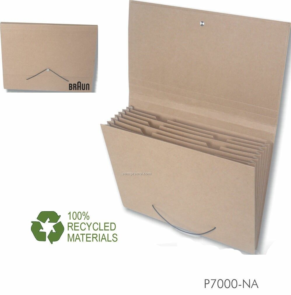 Recycled Expandable Natural Kraft Portfolio W/ 7 Dividers