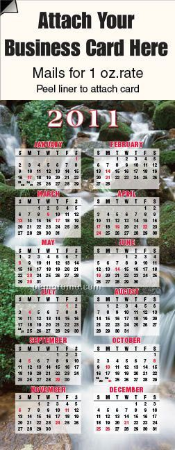 2011 Waterfall Adcal Magnetic Business Card Calendar