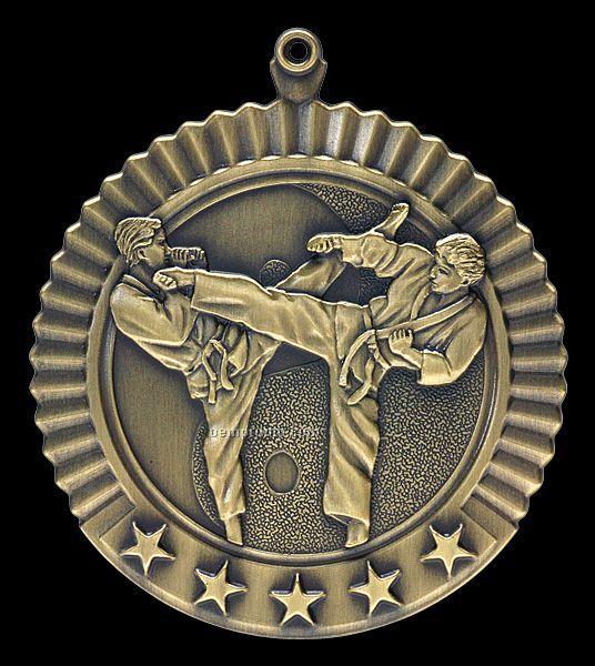 "Medal, ""Karate - Male"" Star - 2-3/4"" Dia."