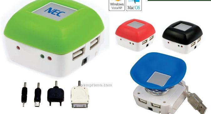 "Mobile Charger W/ 4-port USB Hub (2 1/5""X2 1/2""X1 5/8"")"