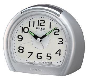 Pulsar Round Bedside Alarm Clock W/ Flat Bottom