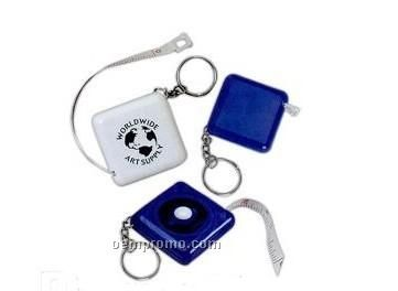 Square Retractable Tape Measure With Key Chain