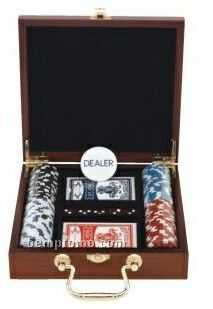 100 Chip Collectible Poker Set With Rosewood Case