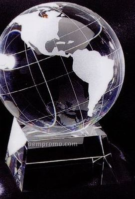 "Globe Prism Optical Crystal Award W/ Trapezoid Base (4""X6"")"