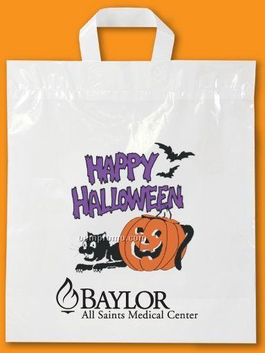 Soft Loop Handle White Halloween Bag - 2.5 Mil Polyethylene (12