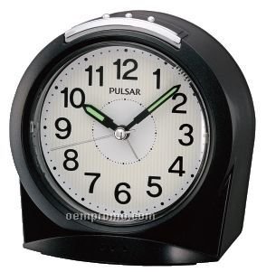 Pulsar Black/ White Arch Shape Bedside Alarm Clock