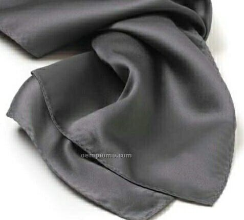 "Wolfmark Solid Series Dark Gray Silk Scarf (30""X30"")"