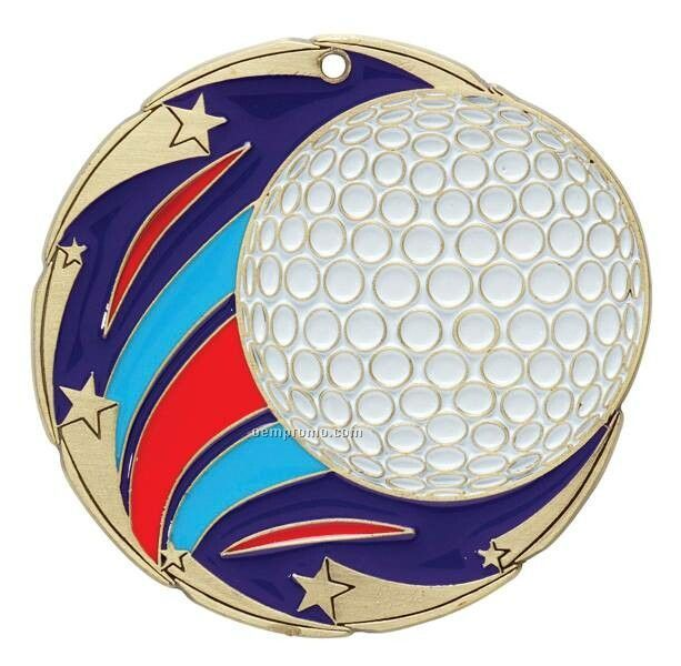 "Medal, ""Golf"" Color Star - 2-1/2"" Dia."