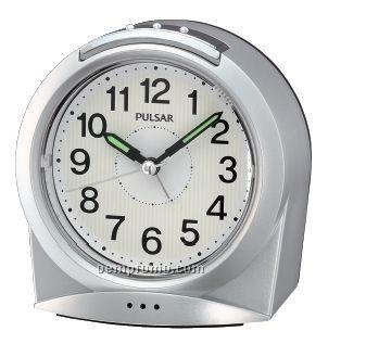 Pulsar Silver/ White Arch Shape Bedside Alarm Clock