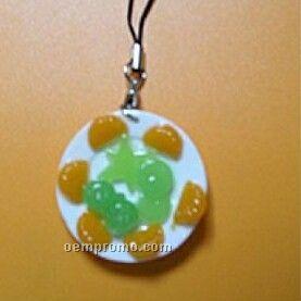 4.3cmx4.3cmx1cm Cell Phone Chain W/ Circular Fruit Shape